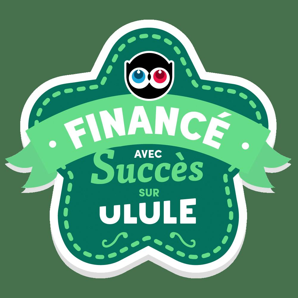 Logo d'Ulule indiquant le succès du financement du projet